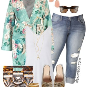 Plus Size Spring Kimono Outfit - Plus Size Outfit Idea - Plus Size Fashion for Women - alexawebb.com #alexawebb