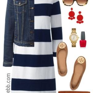 Plus Size Navy Striped Dress Outfit - Plus Size Fashion for Women - alexawebb.com #plussize #alexawebb