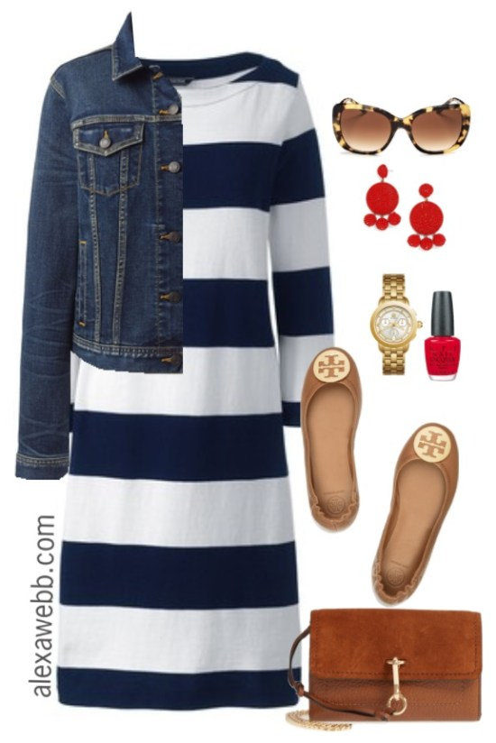 Plus Size Navy Striped Dress Outfit with denim jacket, ballet flats, denim jacket and red statement earrings - Alexa Webb