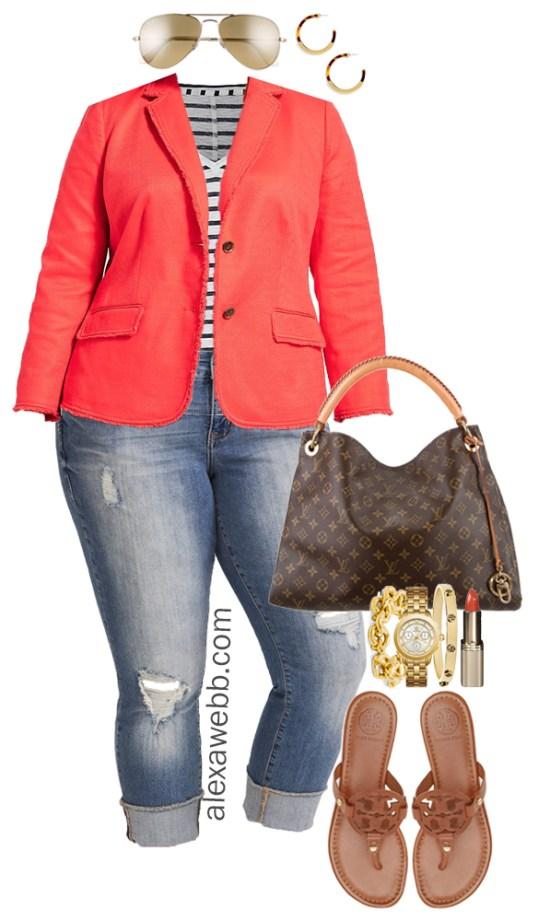 1309ab7f6140 Plus Size Orange Blazer Outfit - Plus Size Spring Summer Outfit Idea - Plus  Size Fashion