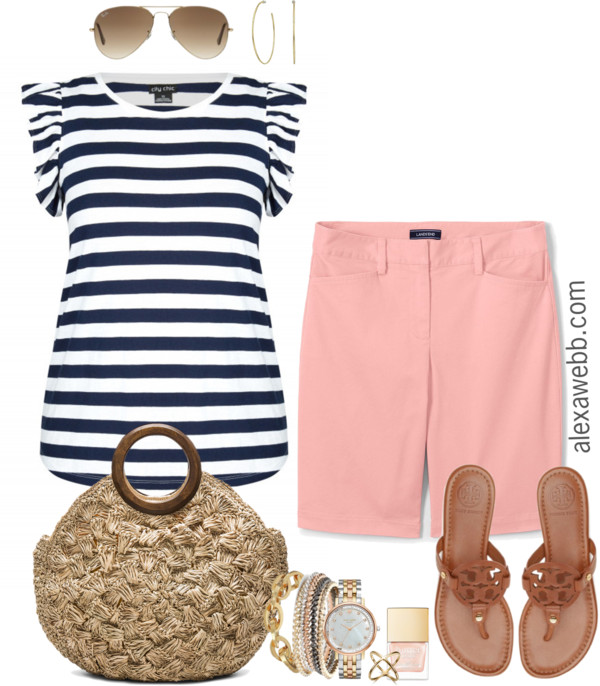 Plus Size Peach Shorts Outfit