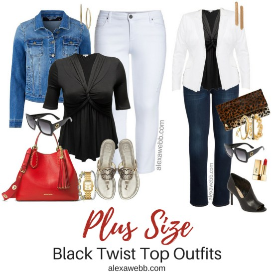 Plus Size Black Twist Top {2 Ways} - Plus Size Outfit Idea - Plus Size Fashion for Women - alexawebb.com #plussize #alexawebb