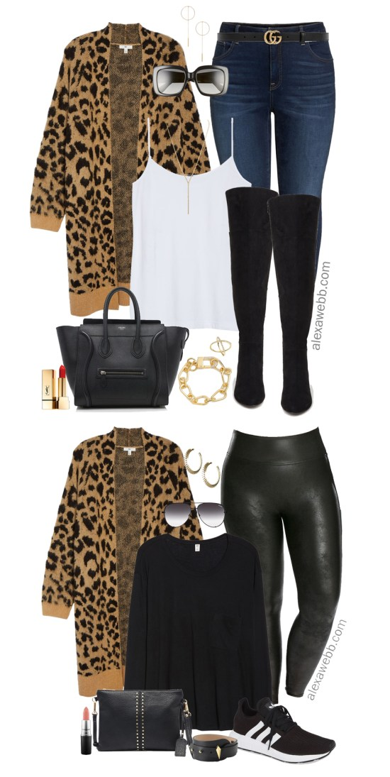 Plus Size Leopard Cardigan Outfit Ideas - Plus Size Leather Leggings - Plus Size Fall Outfits - Plus Size Fashion for Women - alexawebb.com #alexawebb #plussize