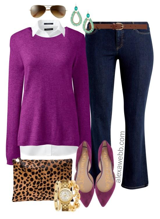 Plus Size Bright Sweater Outfit Ideas - Plus Size Purple Sweater Outfit - Plus Size Fall and Winter Outfits - Plus Size Fashion for Women - alexawebb.com #alexawebb #plussize