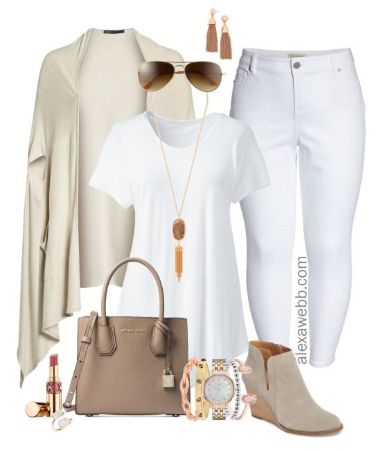 Plus Size Cape Cardigan Outfit - Plus Size White Jeans in Fall - Plus Size Fashion for Women - alexawebb.com #alexawebb #plussize