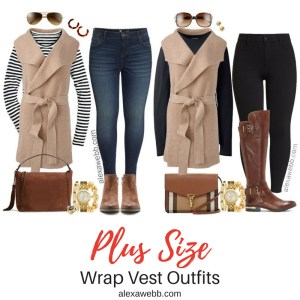 Plus Size Wrap Vest Outfit Ideas - Plus Size Fall Casual Outfit Ideas - Plus Size Fashion for Women - alexawebb.com #alexawebb #plussize