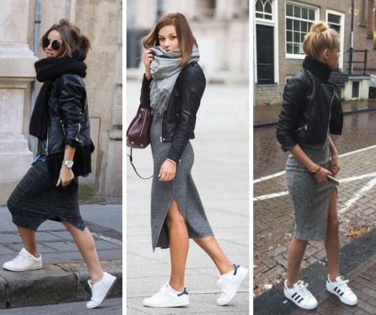 Street Style - Scarf, Midi Skirt, Biker Jacket, Sneakers - alexawebb.com