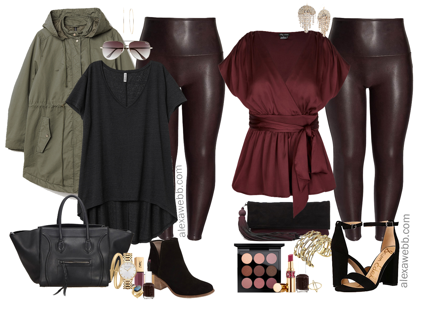 b3a4f6076b457 Plus Size Faux Leather Leggings Outfit Ideas - Alexa Webb