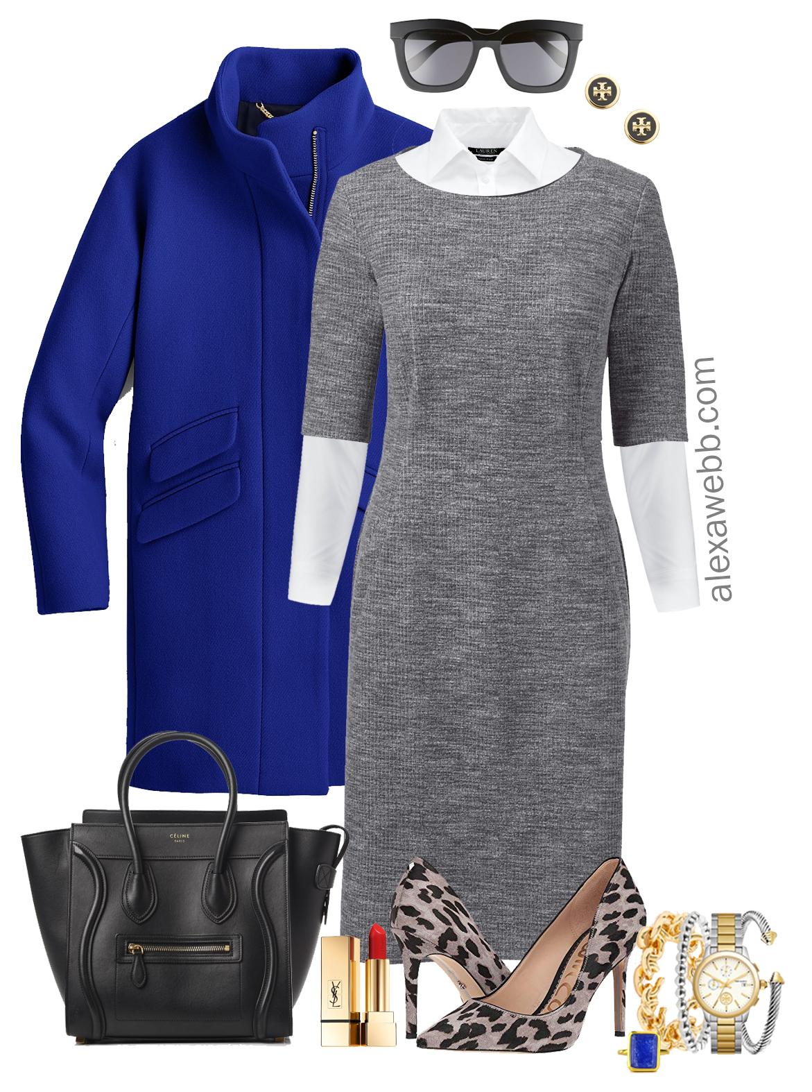 7b12f529a4f Plus Size Gray Work Dress Outfit - Alexa Webb