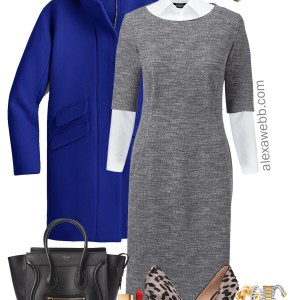 Plus Size Grey Work Dress Outfit - Plus Size Fall Winter Workwear - Plus Size Work Outfits - Plus Size Fashion for Women - alexawebb.com #plussize #alexawebb