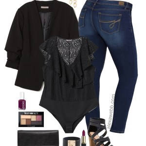 Plus Size on a Budget – Night Out Outfit - Plus Size Jeans and Blazer Outfit Idea - Plus Size Fashion for Women - alexawebb.com #plussize #alexawebb