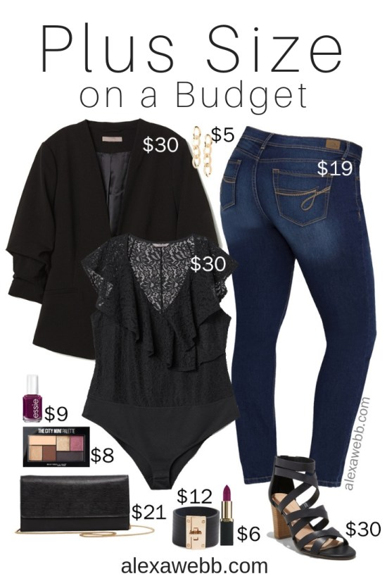 3baf829af68 Plus Size on a Budget – Night Out Outfit - Plus Size Jeans and Blazer Outfit