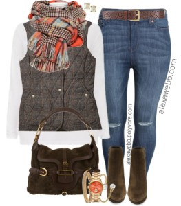 Plus Size Orange Plaid Scarf Outfit Ideas - Plus Size Fall and Winter Outfits - Plus Size Peacoat - Plus Size Fashion for Women - alexawebb.com #plussize #alexawebb