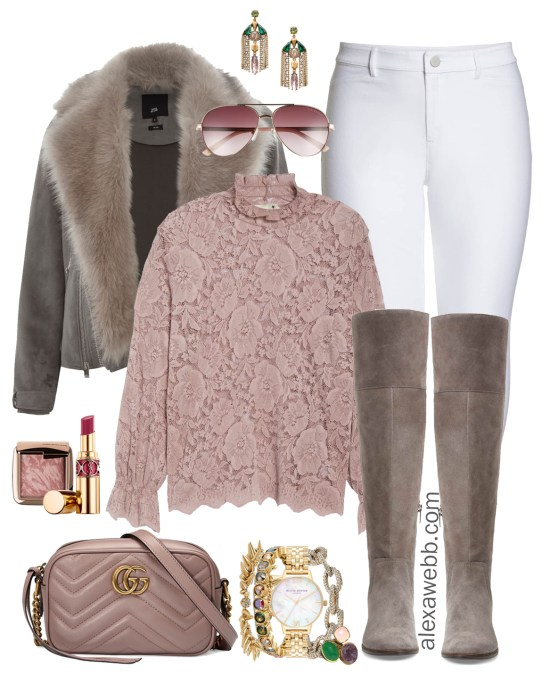 Plus Size Pink Lace Top & White Jeans Outfit - Plus Size Winter and Fall Outfit Ideas - Plus Size Fashion for Women - alexawebb.com #plussize #alexawebb