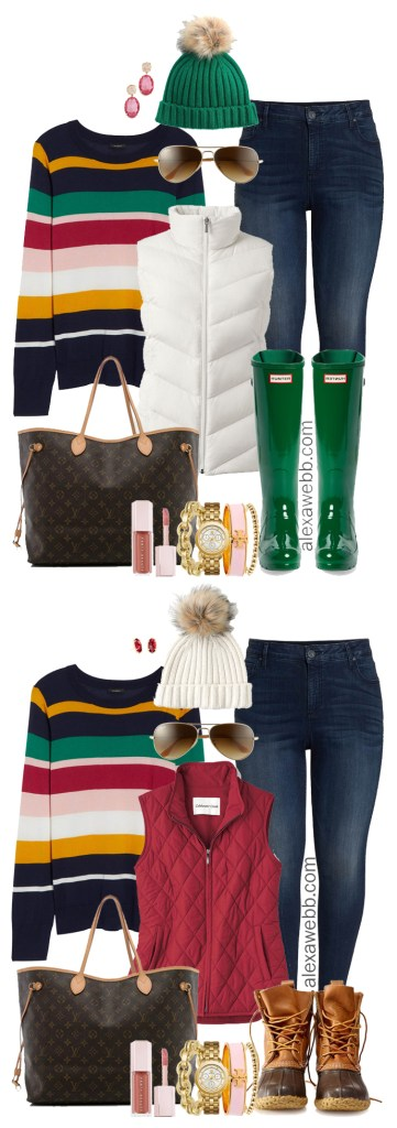 Plus Size Striped Sweater Outfit Ideas - Plus Size Winter Outfits - Plus Size Fashion for Women - alexawebb.com #plussize #alexawebb