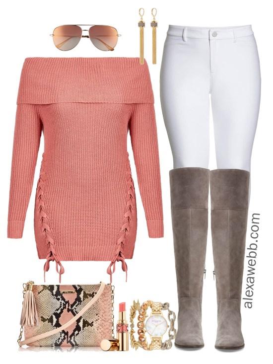 Plus Size Tunic Sweater Outfit - Plus Size Winter Outfit Idea - Plus Size White Jeans - Plus Size Fashion for Women - alexawebb.com #plussize #alexawebb