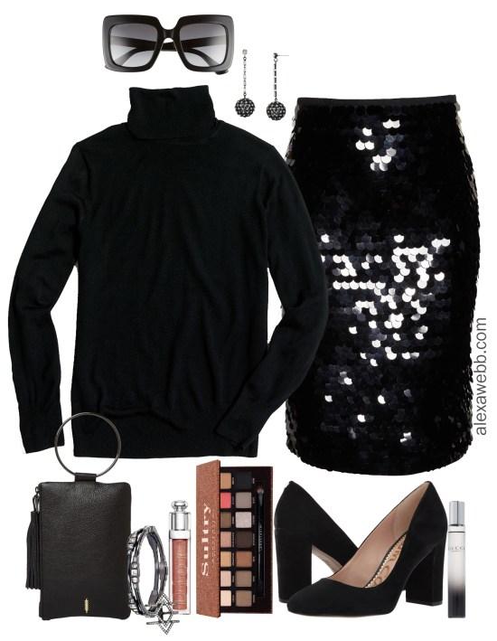 ce6d8adeb6a55 Plus Size Black Sequin Skirt Outfit - Turtleneck   Pumps - Plus Size  Holiday Christmas Party