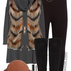 Plus Size Faux Fur Vest Outfit - Plus Size Knit Dress, Wide Calf Over the Knee Boots, Leggings - Plus Size Fashion for Women - alexawebb.com #plussize #alexawebb