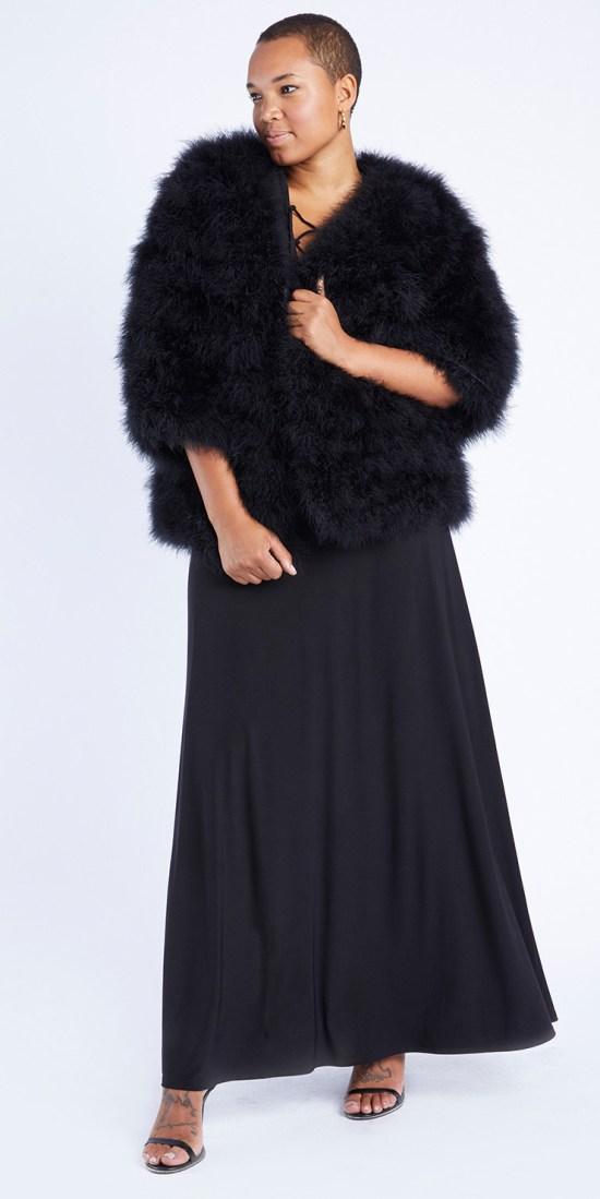 Plus Size Feather Jacket from Anna Scholz - Plus Size Fashion for Women - alexawebb.com #plussize #alexawebb