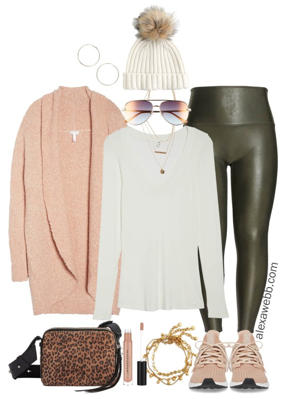 Plus Size Olive Faux Leather Leggings - Plus Size Winter Outfit Ideas - Plus Size Fashion for Women - alexawebb.com - Alexa Webb - #plussize #alexawebb