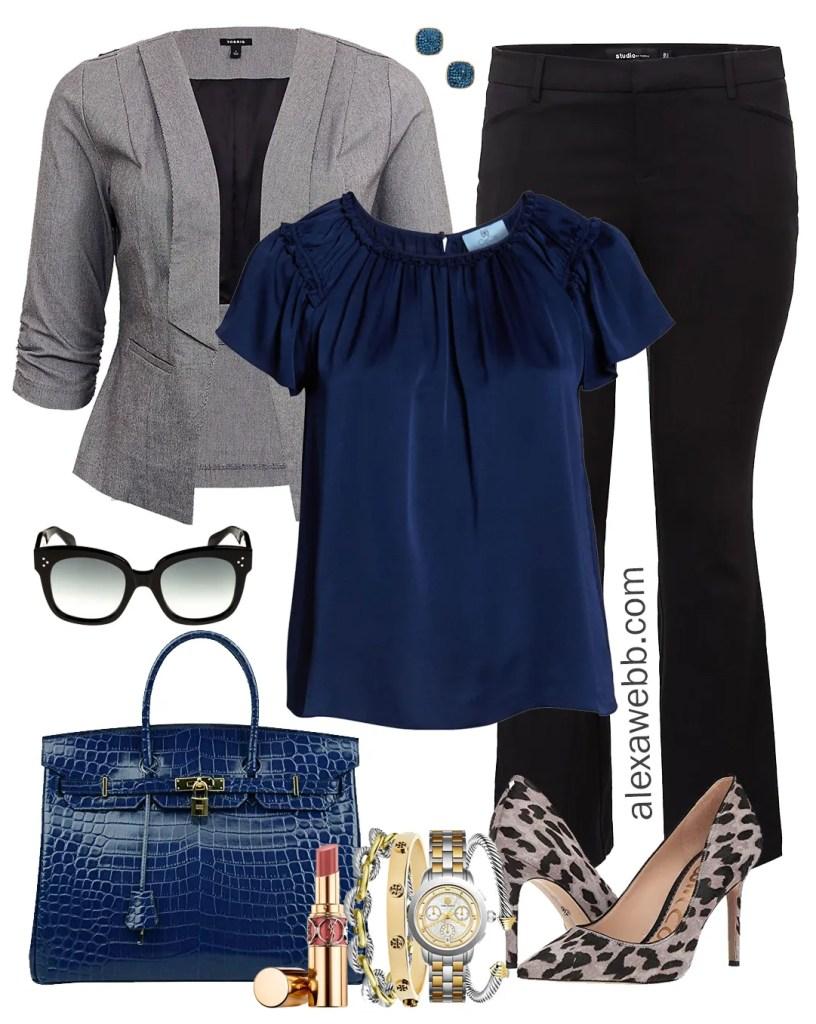 Plus Size Winter Business Casual Outfits - Plus Size Trousers, Grey Blazer, Blue Top, Leopard Heels - Plus Size Fashion for Women - Plus Size Work Wear - alexawebb.com #Plussize #Alexawebb