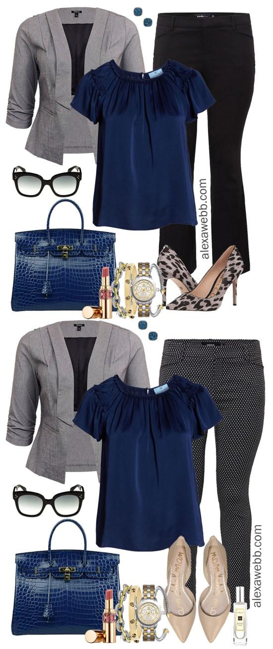 Plus Size Winter Business Casual Outfits - Plus Size Skinny Pants, Grey Blazer, Blue Top, Nude Flats - Plus Size Fashion for Women - Plus Size Work Wear - alexawebb.com #Plussize #Alexawebb