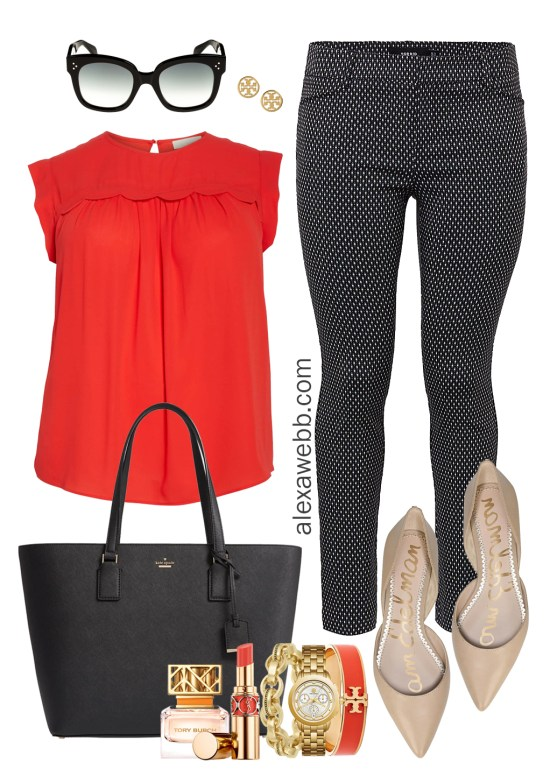 Plus Size Work Outfits - Black & White Pants, Red Top, Nude Flats - Plus Size Work Wear - alexawebb.com #plussize #alexawebb
