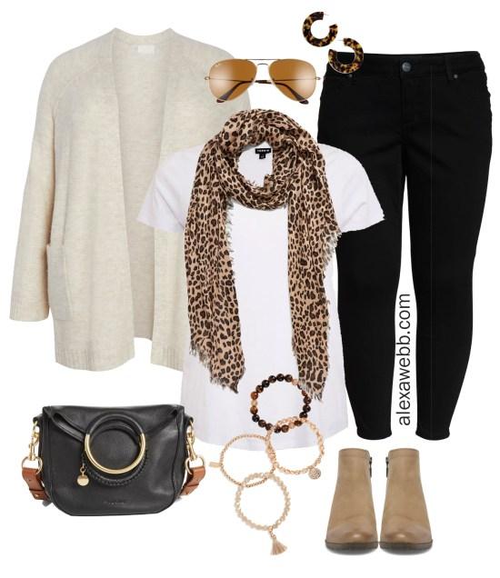 Plus Size Black Jeans Outfit - Plus Size Cardigan, Leopard Scarf, Booties - alexawebb.com #plussize #alexawebb