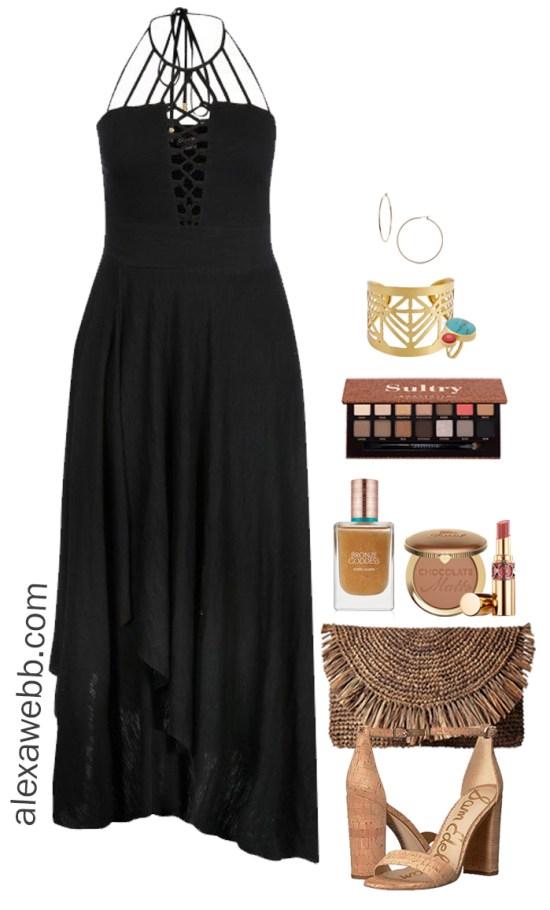 Plus Size Cruise Collection – Plus Size Dress, Straw Clutch, Wedge Sandals - Plus Size Fashion for Women - Alexa Webb - alexawebb.com #plussize #alexawebb
