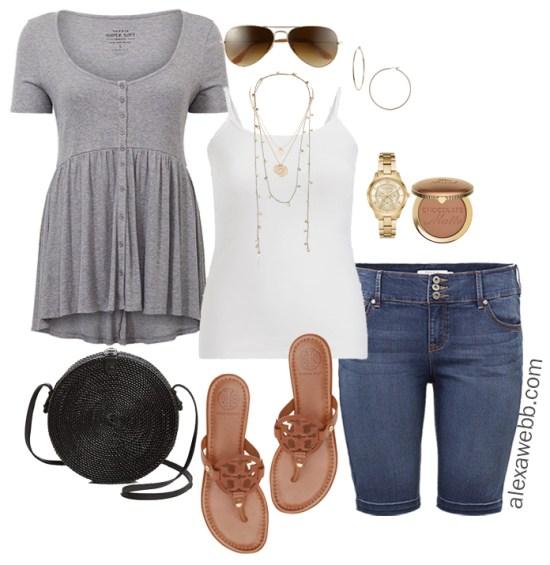 Plus Size Cruise Outfits- Casual Vacation Wear Babydoll Top, Denim Bermuda Shorts - Plus Size Fashion - Alexa Webb - alexawebb.com #plussize #alexawebb
