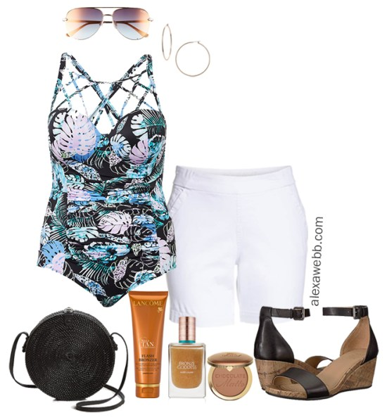 Plus Size Cruise Casual Outfits - Plus Size Vacation Swimsuit Outfit with White Shorts - Plus Size Fashion for Women - alexawebb.com #plussize #alexawebb
