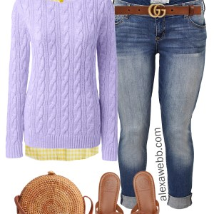 Plus Size Lavender Sweater Spring Outfit - Plus Size Casual Boyfriend Jeans Outfit Idea - alexawebb.com #plussize #alexawebb