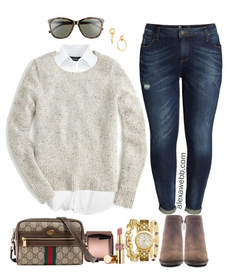 Plus Size Winter Casual Outfits - Plus Size Neutral Sweater, Jeans, Booties - Plus Size Fashion for Women - Alexa Webb - alexawebb.com #plussize #alexawebb