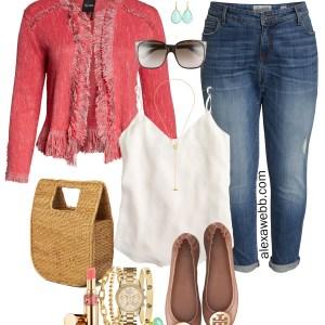 Plus Size Coral Tweed Jacket - Plus Size Casual Outfit with Boyfriend Jeans, Flats, and Blazer - Plus Size Fashion for Women - alexawebb.com #plussize #alexawebb