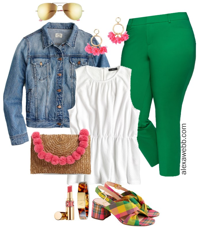 Plus Size Bright Green Pants Outfit - Plus Size Spring Summer Casual Outfit Idea - Lilly Pulitzer - Plus Size Fashion for Women - alexawebb.com #plussize #alexawebb