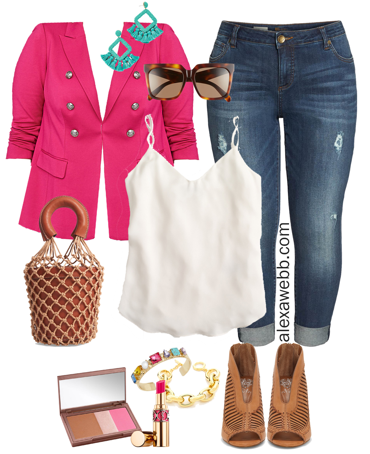 Plus Size Hot Pink Blazer Outfit
