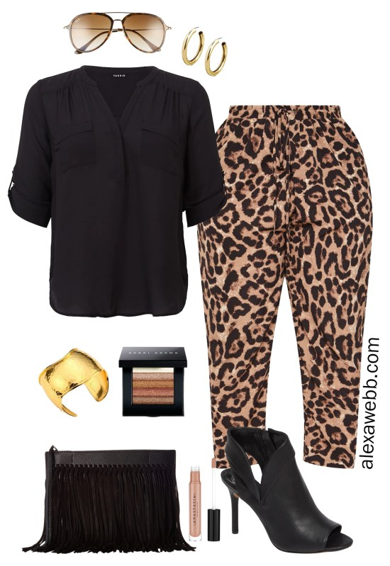 Plus Size Leopard Pants Outfit Ideas - Date Night Look - Plus Size Fashion for Women - alexawebb.com #plussize #alexawebb