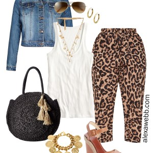 Plus Size Leopard Pants Outfit Ideas - Casual Look for Spring and Summer - Denim Jacket, White Tank, Leopard Joggers, Straw Bag, Wedge Sandals - Plus Size Fashion for Women - alexawebb.com #plussize #alexawebb