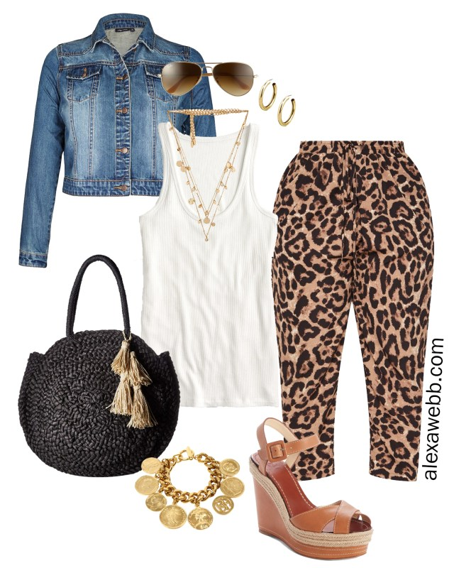 e882016565089 Plus Size Leopard Pants Outfit Ideas - Casual Look for Spring and Summer -  Denim Jacket