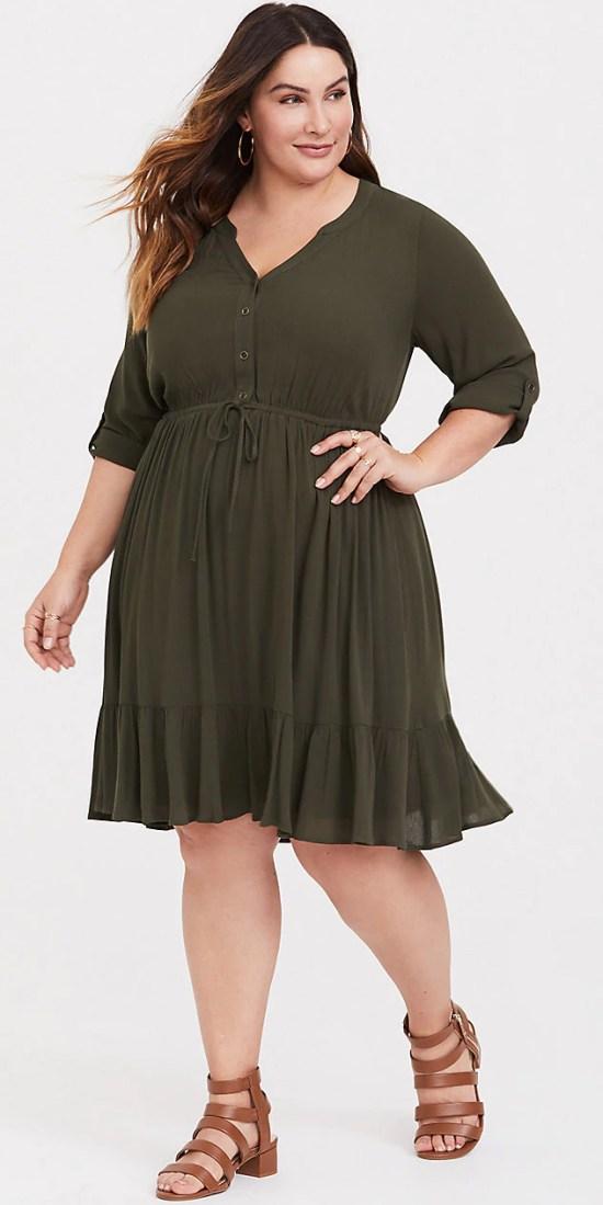 Plus Size Spring Dresses - Plus Size Olive Shirt Dress Outfit - Plus Size Fashion for Women - alexawebb.com #plussize #alexawebb