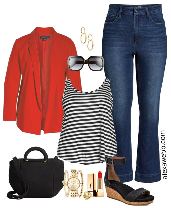 Plus Size Red Blazer Outfit - Plus Size Casual Spring Outfit Idea with Bootcut Jeans, Blazer, Striped Tank, and Sandals - Plus Size Fashion for Women - alexawebb.com #plussize #alexawebb