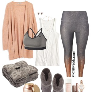 Plus Size Work-From-Home Outfit - Plus Size Rose Gold Leggings, Cardigan, Loungewear - Plus Size Fashion for Women - alexawebb.com #Plussize #Alexawebb