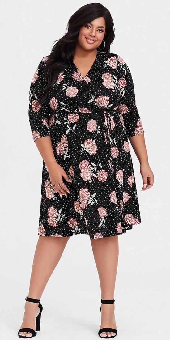 Plus Size Spring Dresses - Plus Size Floral Wrap Dress - Plus Size Workwear for Women - alexawebb.com #plussize #alexawebb