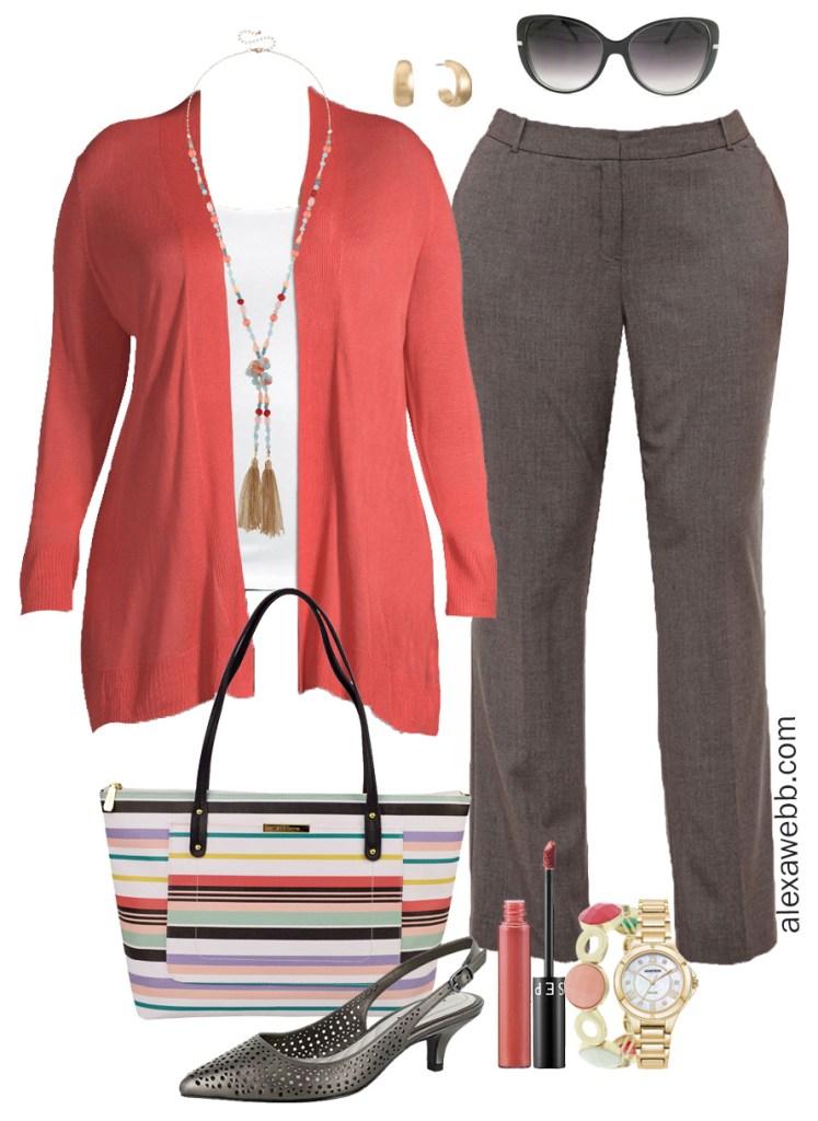 Plus Size Coral Work Outfit - Plus size coral cardigan, grey trousers, striped tote, wide width heels - Plus Size Workwear - alexawebb.com #plussize #alexawebb