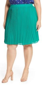 Plus Size Green Pleated Skirt - Spring Skirt - alexawebb.com #plussize #alexawebb