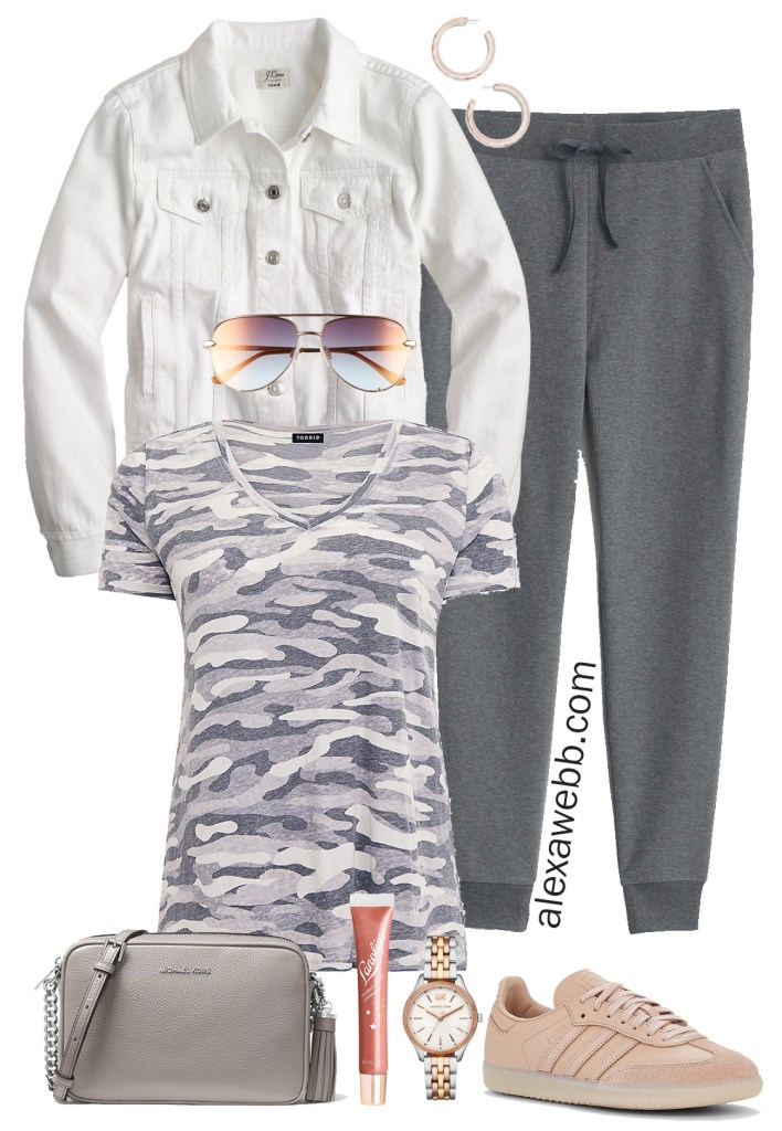 Plus Size Joggers Outfit - Athleisure - Camo T-Shirt, White Denim Jacket, Sneakers - Plus Size Fashion for Women - alexawebb.com #plussize #alexawebb