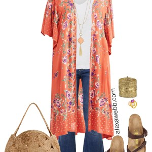Plus Size Kimono Outfit - Flare Jeans, Birkenstock Sandals, and Jute Bag - Plus Size Fashion for Women - alexawebb.com #plussize #alexawebb