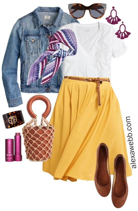 Plus Size Midi Skirt Outfits - Spring Mustard Skirt - Plus Size Fashion for Women - alexawebb.com #plussize #alexawebb