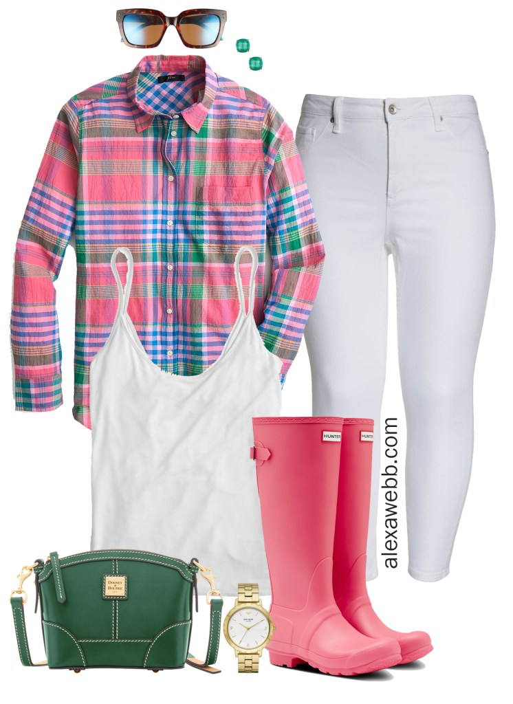 Plus Size Plaid Spring Outfit Idea - Plus Size White Jeans, Wide Calf Hunter Boots, Green Crossbody Bag - Plus Size Fashion for Women - alexawebb.com #plussize #alexawebb