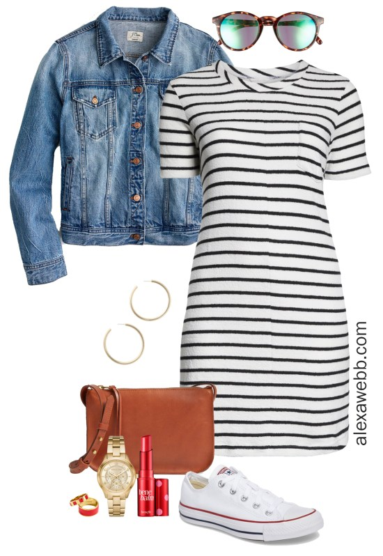 Plus Size Striped Dress Outfit - Alexa Webb